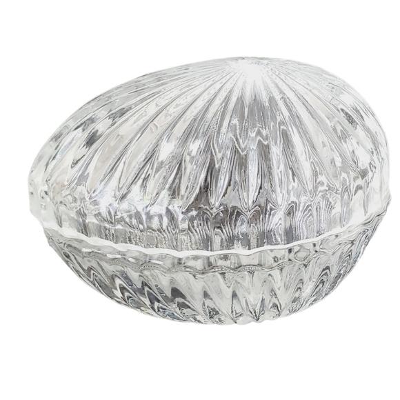 Vintage Crystal Egg Shaped Box  GUC
